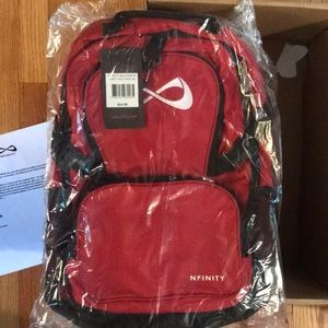 Red nfinity back pack.